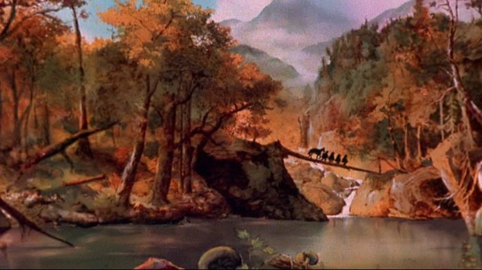 Backgrounds are exceptional throughout the film.